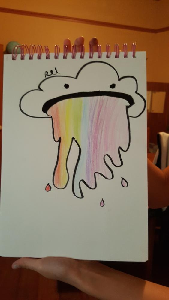 10yo's drawing of a cloud puking a rainbow