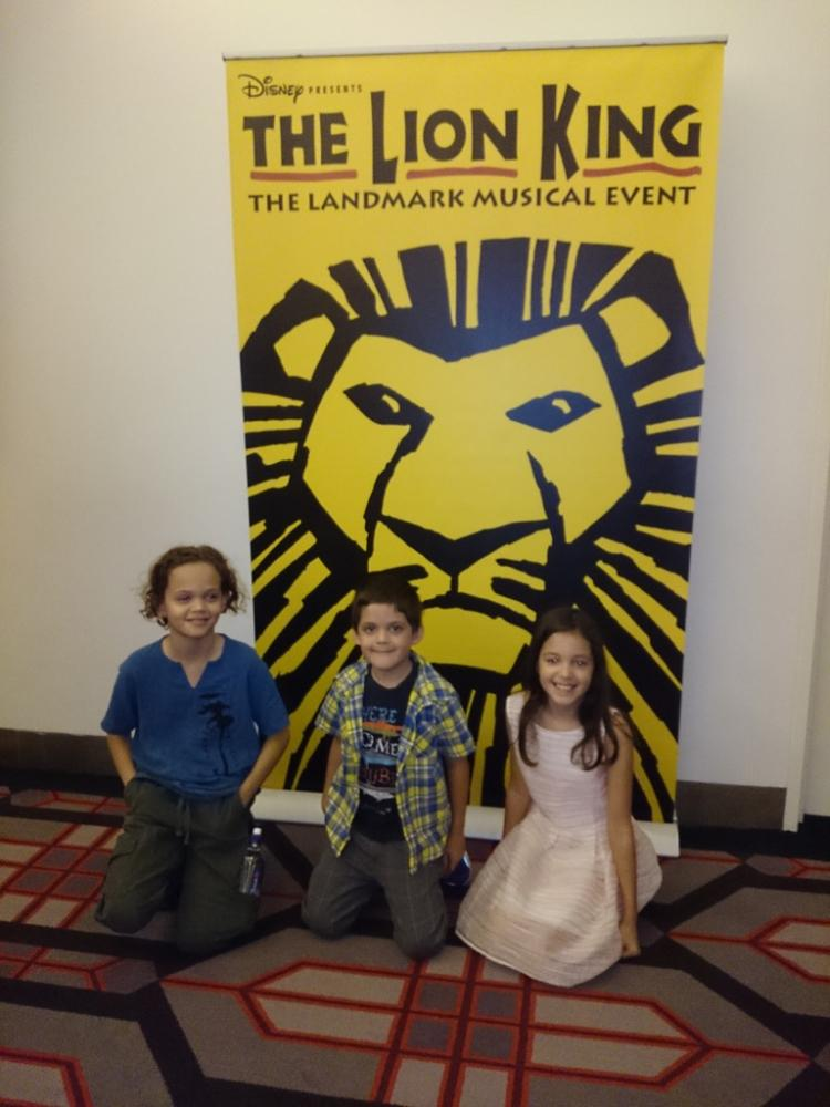 Waiting to go in to see The Lion King Broadway Musical