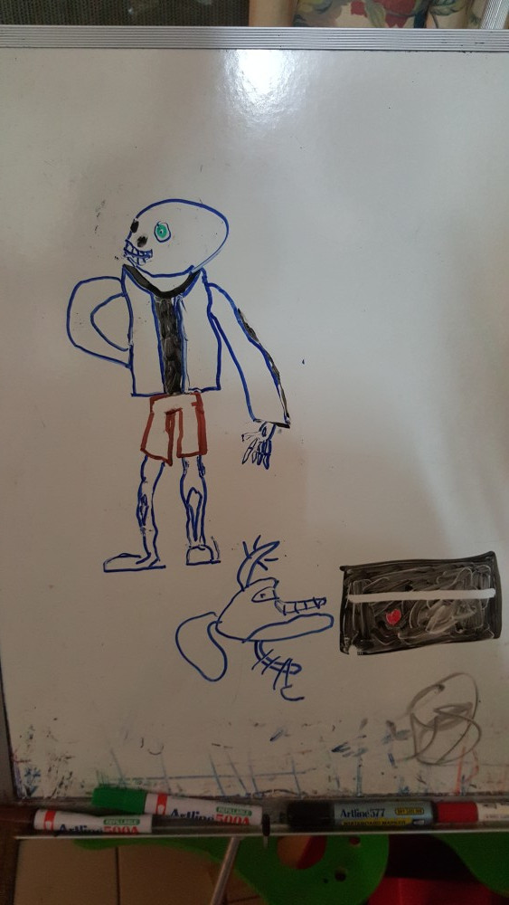 11yo's drawing of Sans from Undertale on the whiteboard