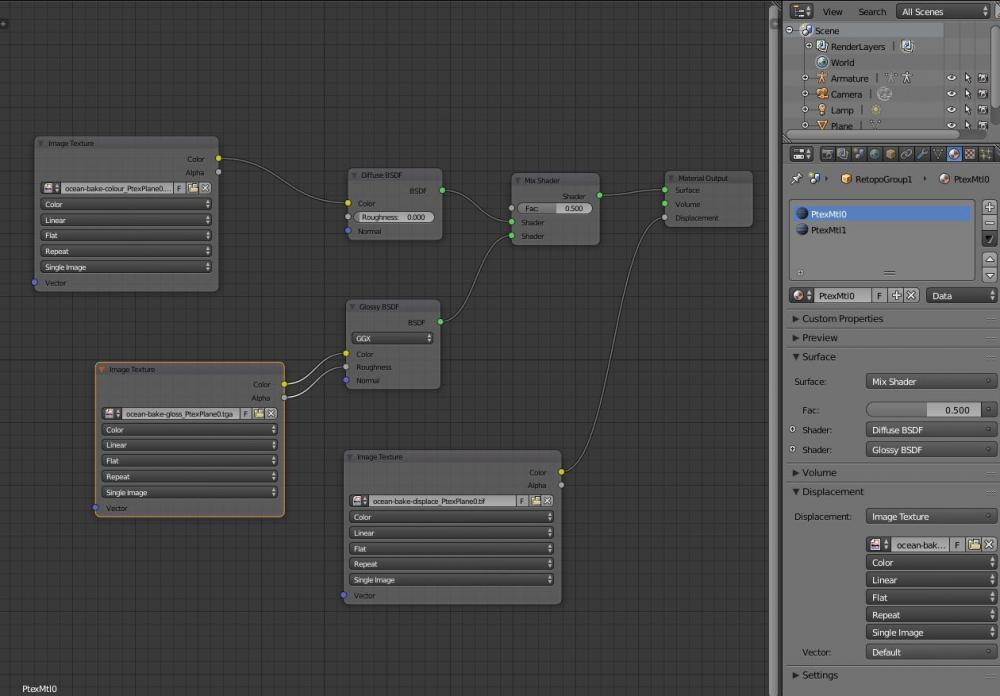 slightly closer version of node tree and material panel