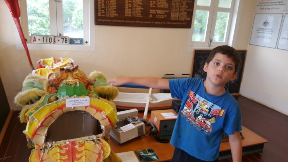 8yo recognises a Chinese lion head as something I use, Tai Jin House, Christmas Island