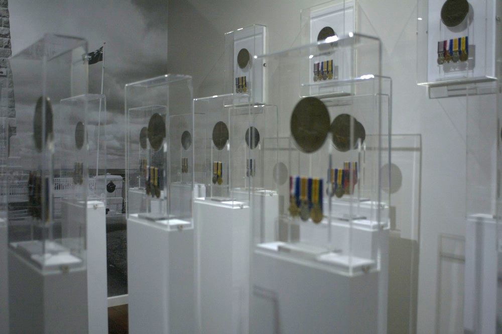 Medals at the entrance of the POW gallery