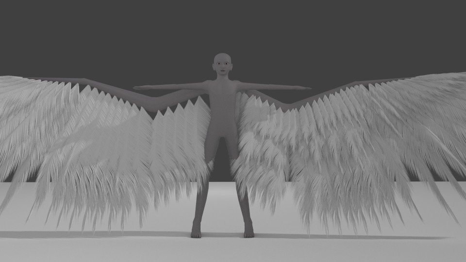 Blender Avian model with particle feathers