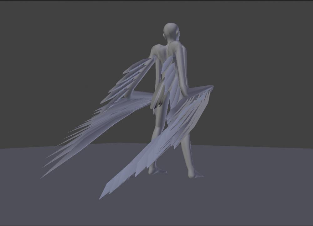 Blender Avian model wings furled 3/4 back shot