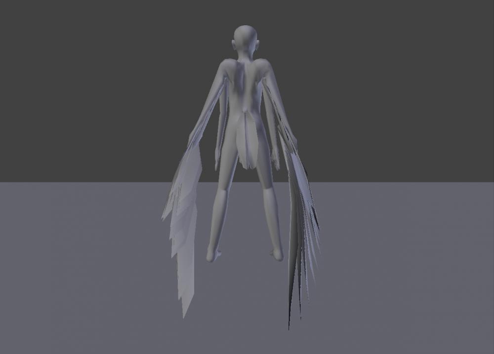 Blender Avian model wings furled back shot
