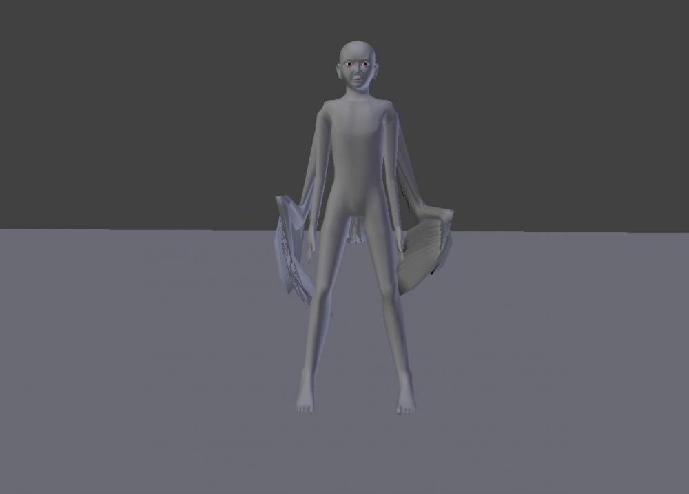 Blender Avian model wings furled front view