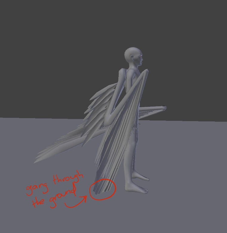 Blender Avian model showing long wings sticking through the ground