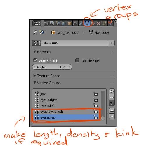Blender hair vertex groups settings for weight maps