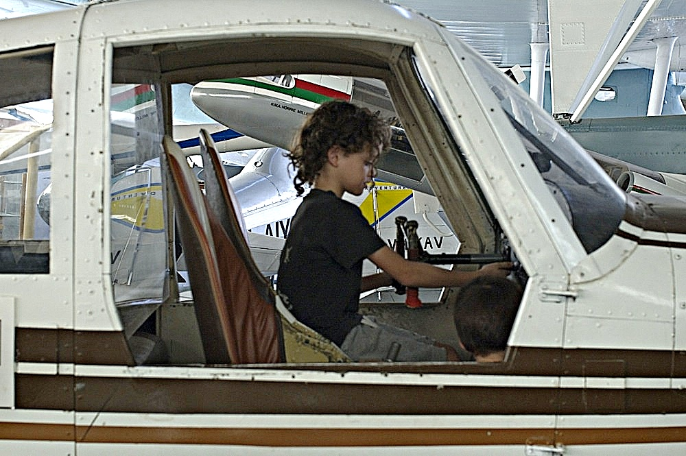 9yo driving the demo plane