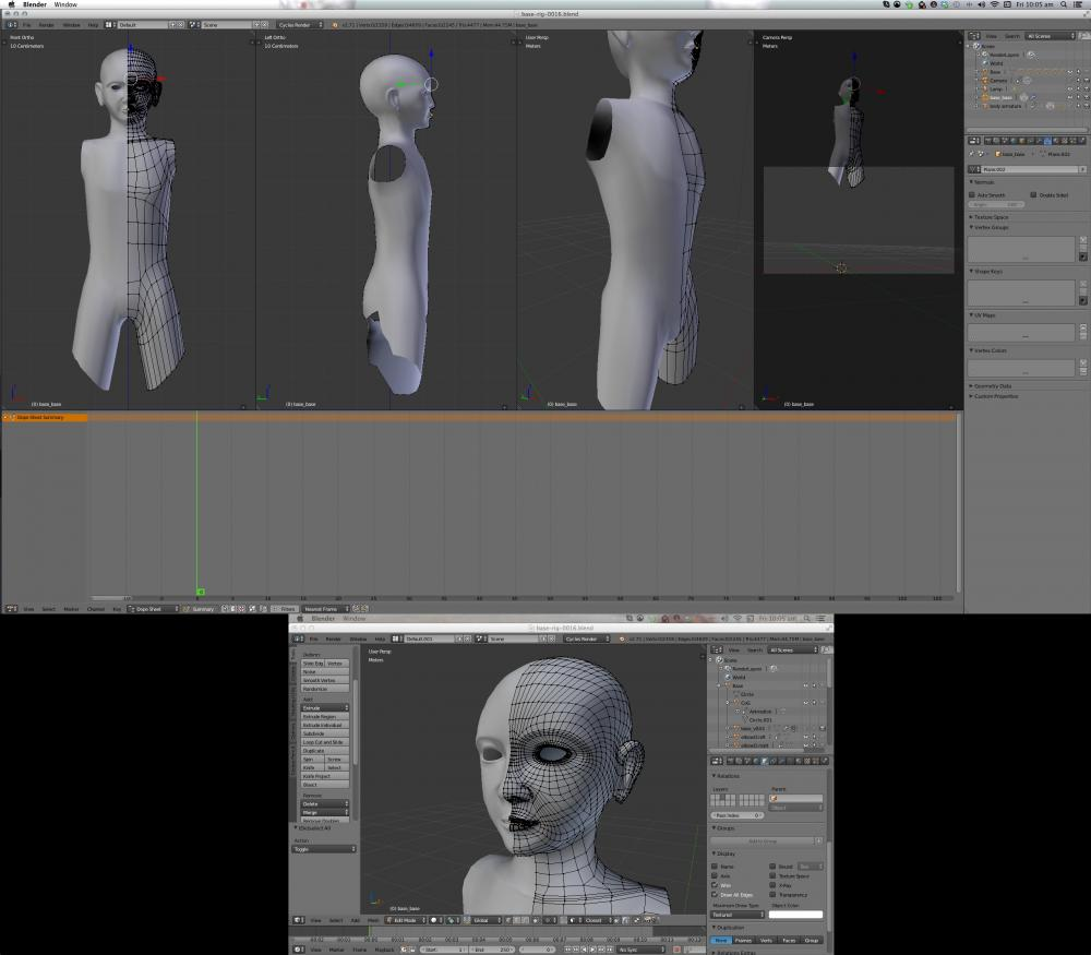 Head and torso retopology in Blender 2.71