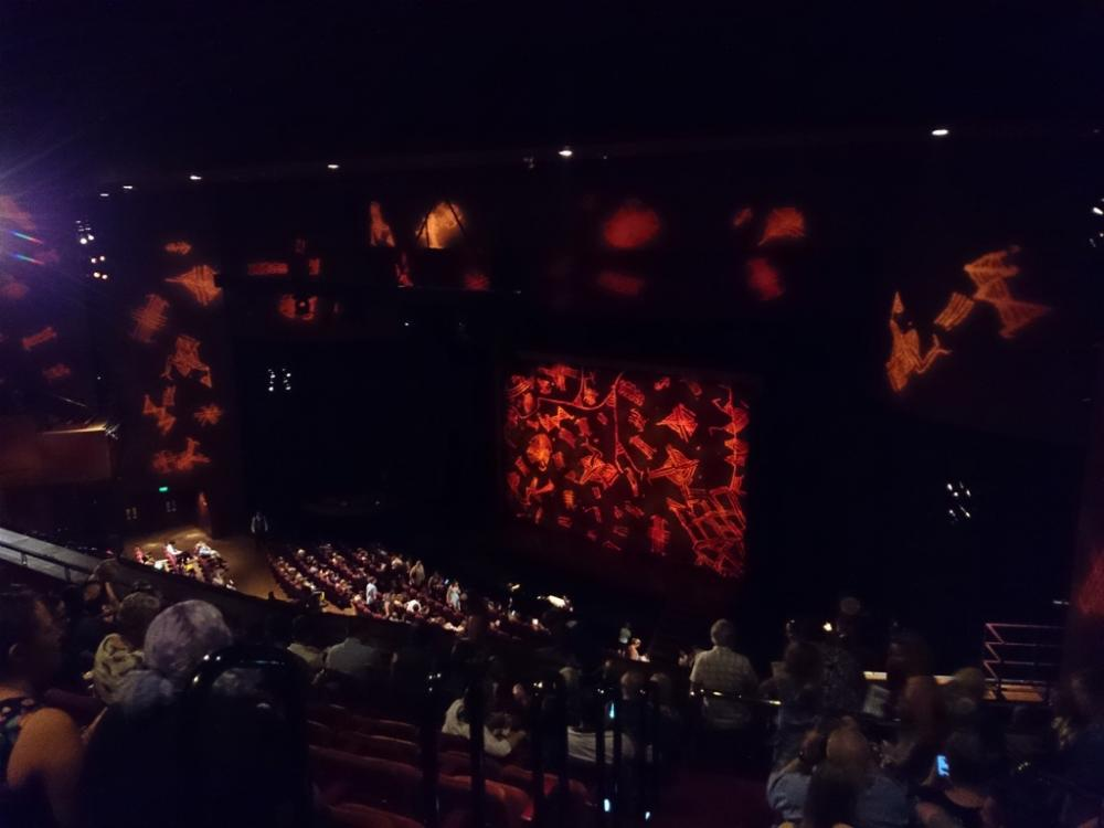 In the nosebleed section at The Lion King Broadway Musical being performed at Crown Theatre, Perth, Western Australia