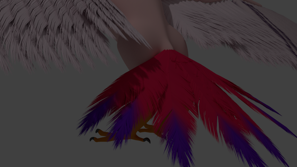 Tail feathers coloured with a uv map