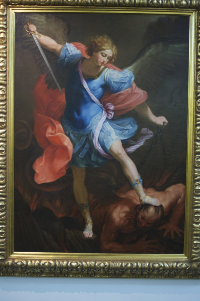 Angel vs demon painting at New Norcia