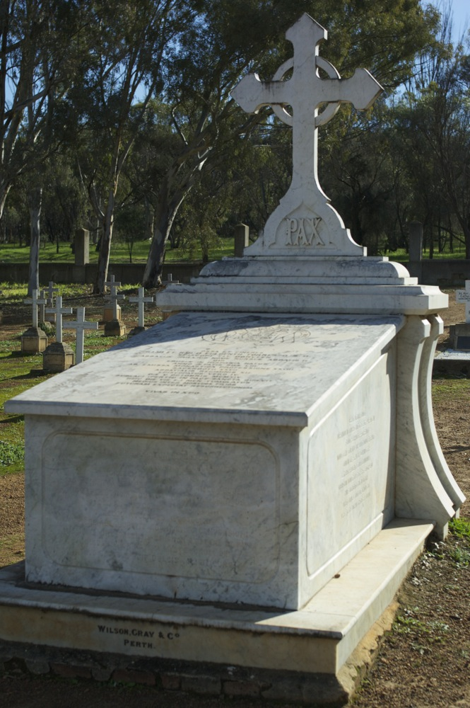 Tomb in the middle of the cemetery at New Norcia, Western Australia