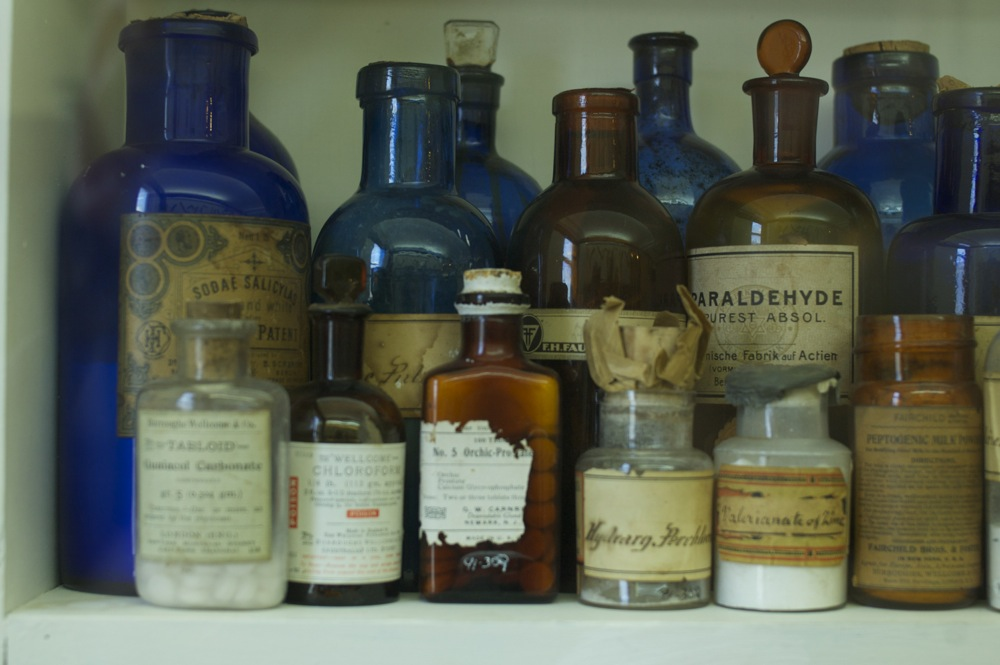 Homeopathy bottles in display at the museum, New Norcia, Western Australia