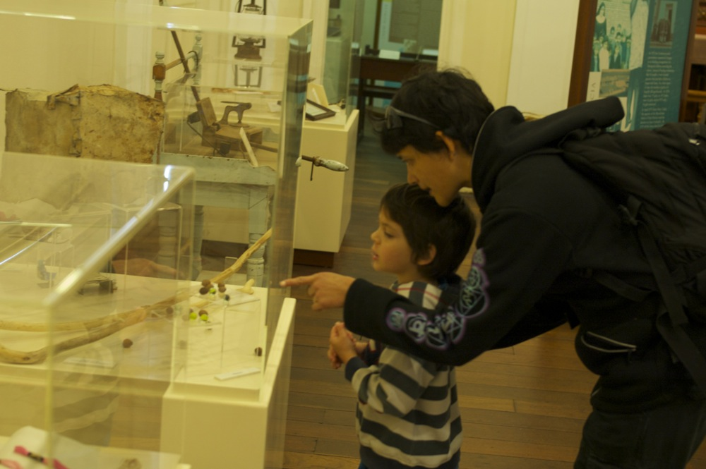 Checking out some old toys and things on display at the museum in New Norcia, Western Australia