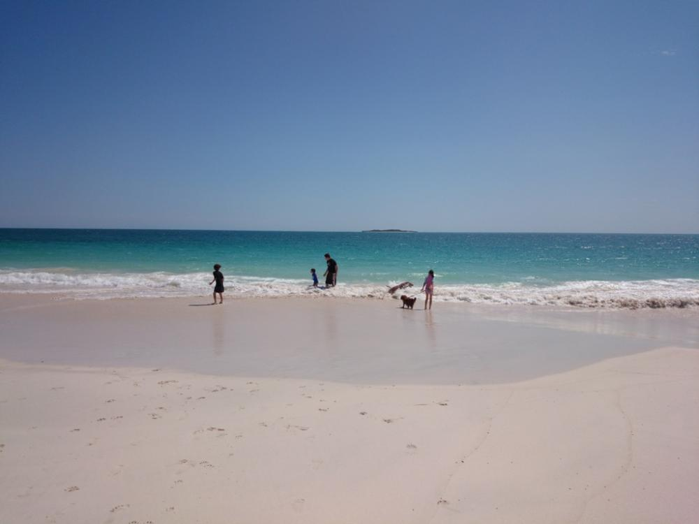 Playing at the beach at Jurien Bay, Western Australia