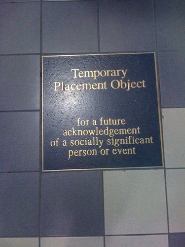 Temporary placement tile at the train station
