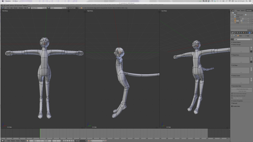 Modelling character in Blender, front side and 3/4 views