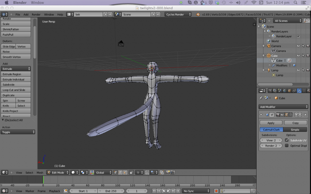 Modelling character in Blender, single pane view on the Cintiq