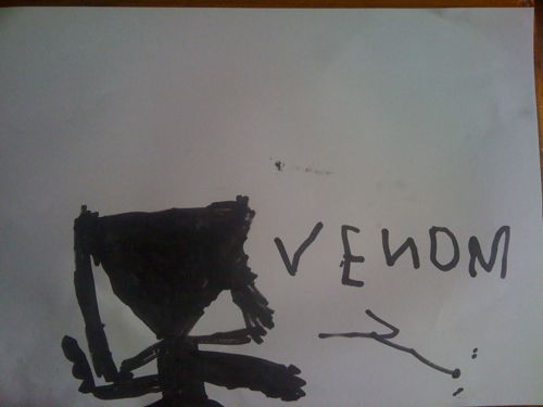 Venom drawn with black whiteboard marker on paper