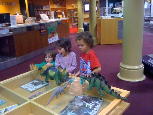 Playing with dinosaur toys at the WA Museum Discovery Centre