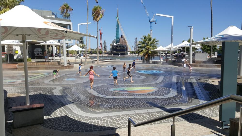 Water park with misters running, Elizabeth Quay, Perth, Western Australia