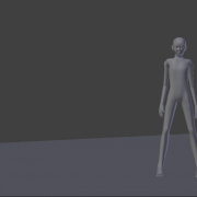 Blender model in beat up action hero recovery pose