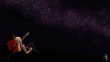 Zara and Megan chilling looking at the stars