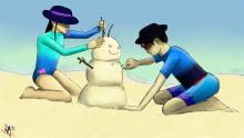 Taji and Rei building a sandman because it's summer in Australia