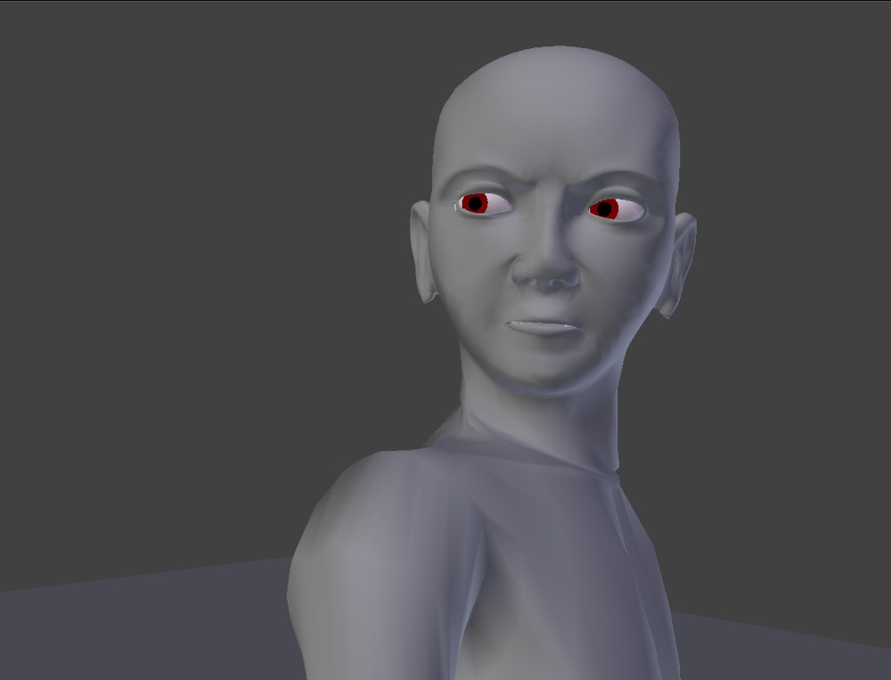 Blender character with angry expression done with shape keys and bone drivers