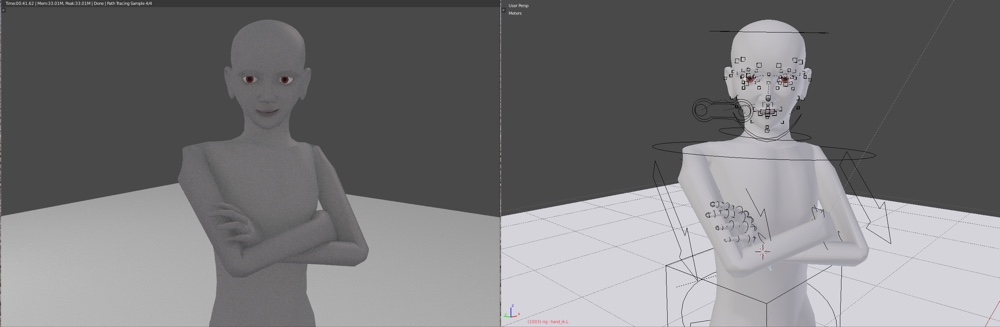 Pose done with Rigify-Pitchipoy rig that ships with Blender 2.76b