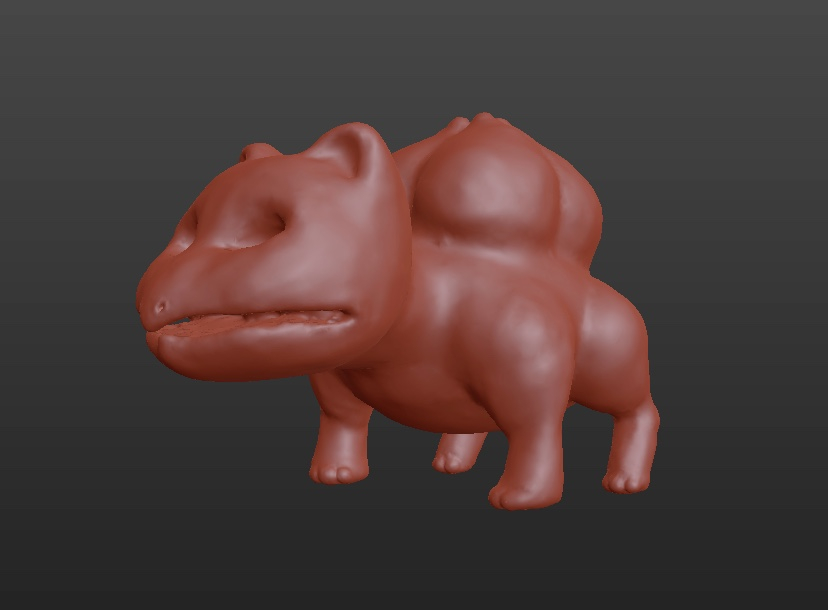 3d bulbasaur sculpt done in Blender