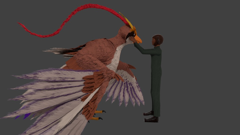 3d mega-pidgeot and low poly 3d-fyn