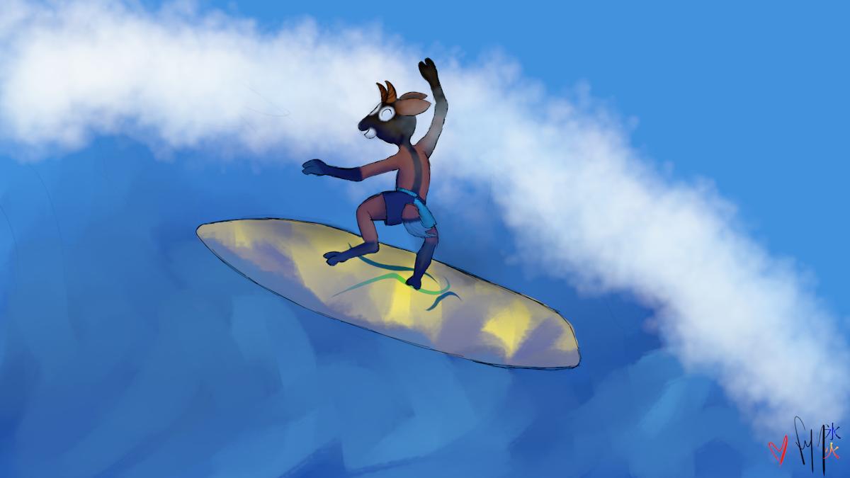 Surfing upgoat