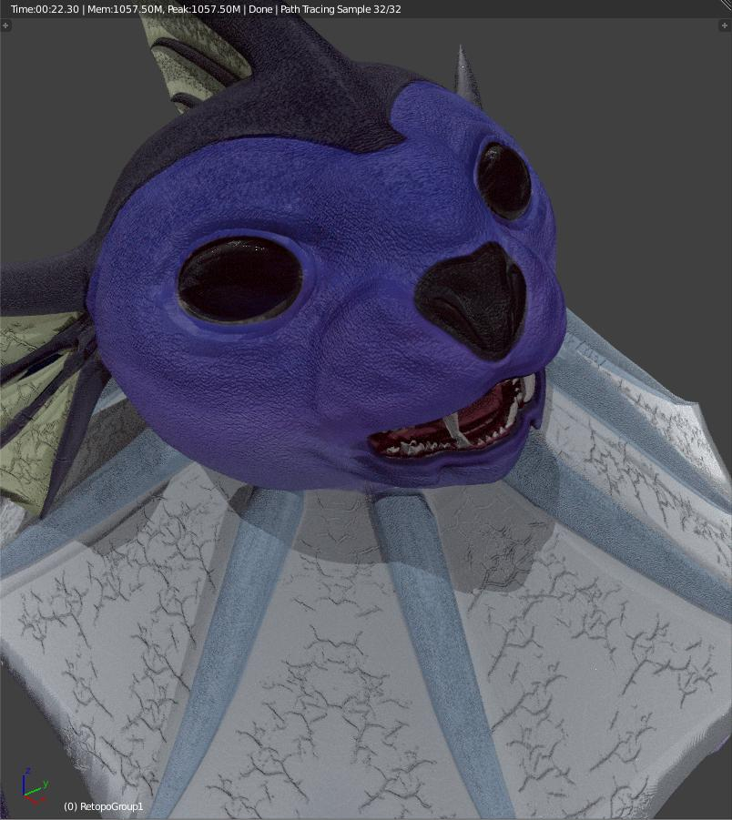 Blender viewport render of realistic vaporeon