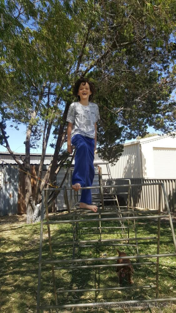 13yo-on-climbing-frame-jurien-beach-house