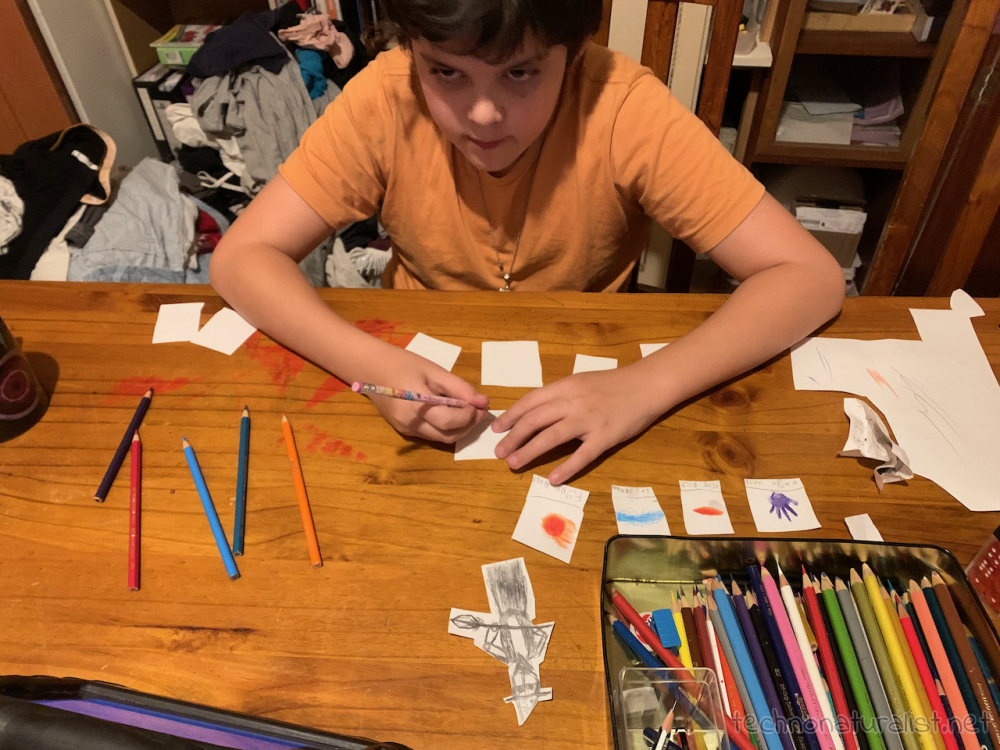 12yo drawing DnD spell and item cards
