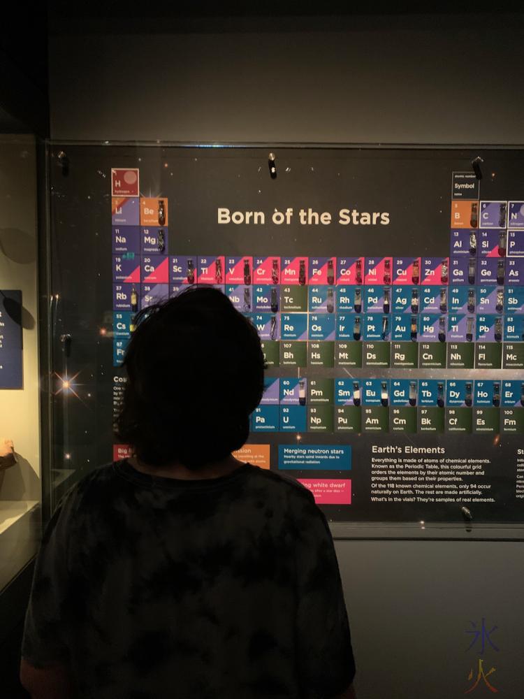 12yo looking at periodic table at Boola Bardip Museum, Perth, Western Australia