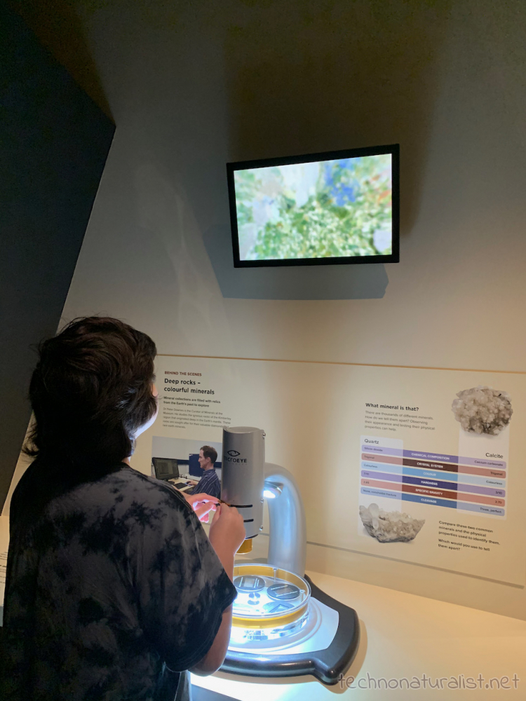 12yo studying gemstone under microscope at Boola Bardip Museum, Perth, Western Australia
