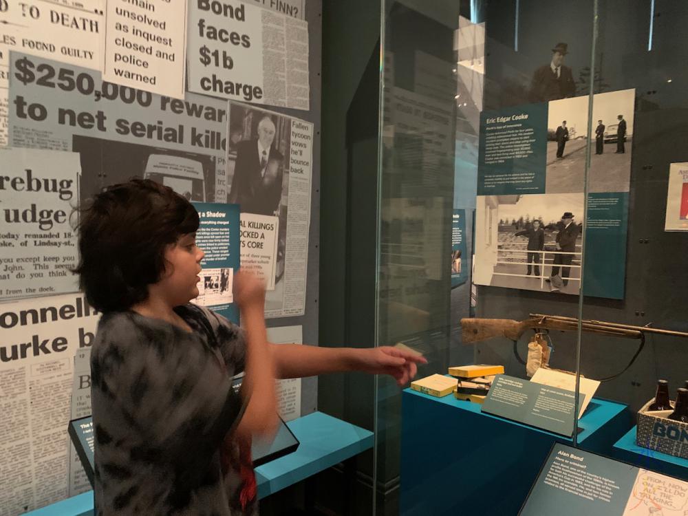 12yo explaining old firearms to me at Boola Bardip Museum, Perth, Western Australia