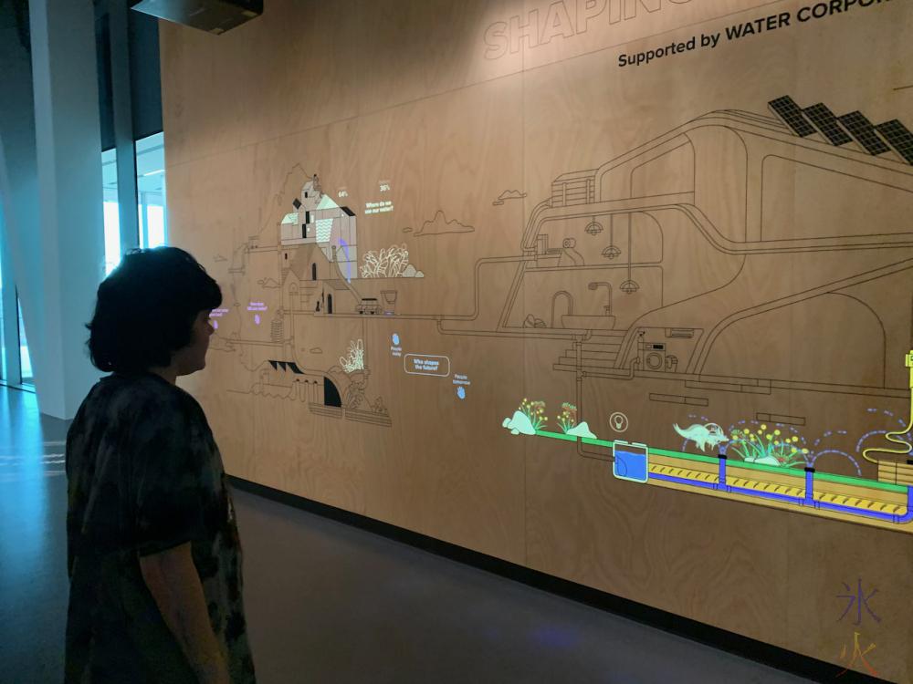 water cycle/usage interactive display at Boola Bardip Museum, Perth, Western Australia