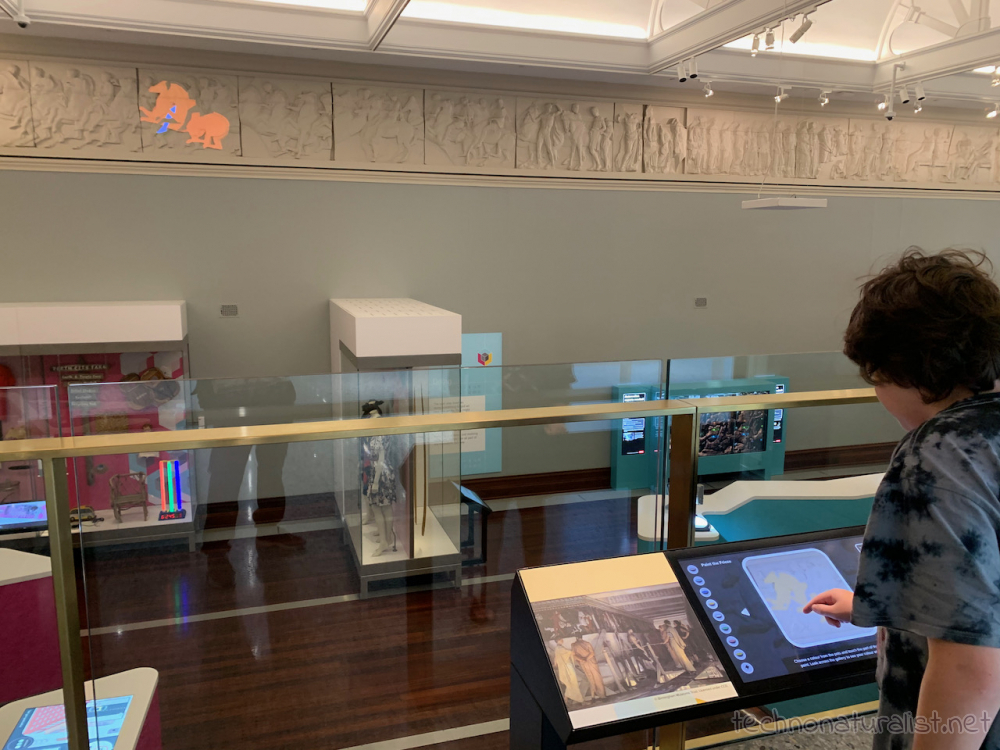 12yo playing with an interactive display at Boola Bardip Museum, Perth, Western Australia