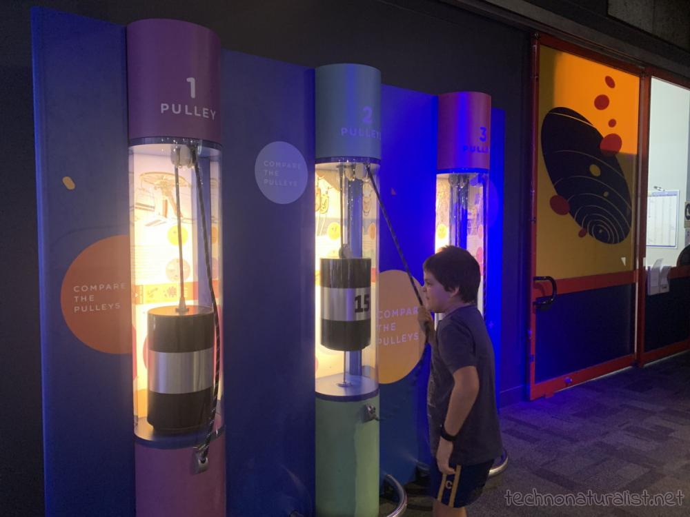 feeling the same weight with different pulleys, Scitech, Perth, Western Australia