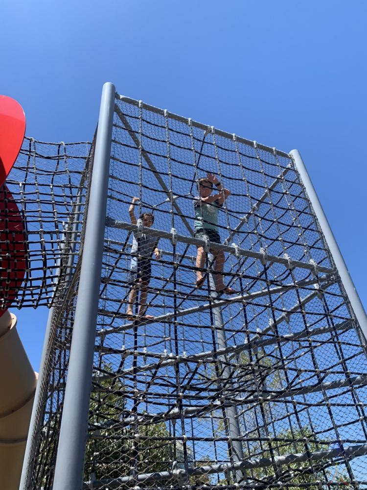boys in climbing frame thing