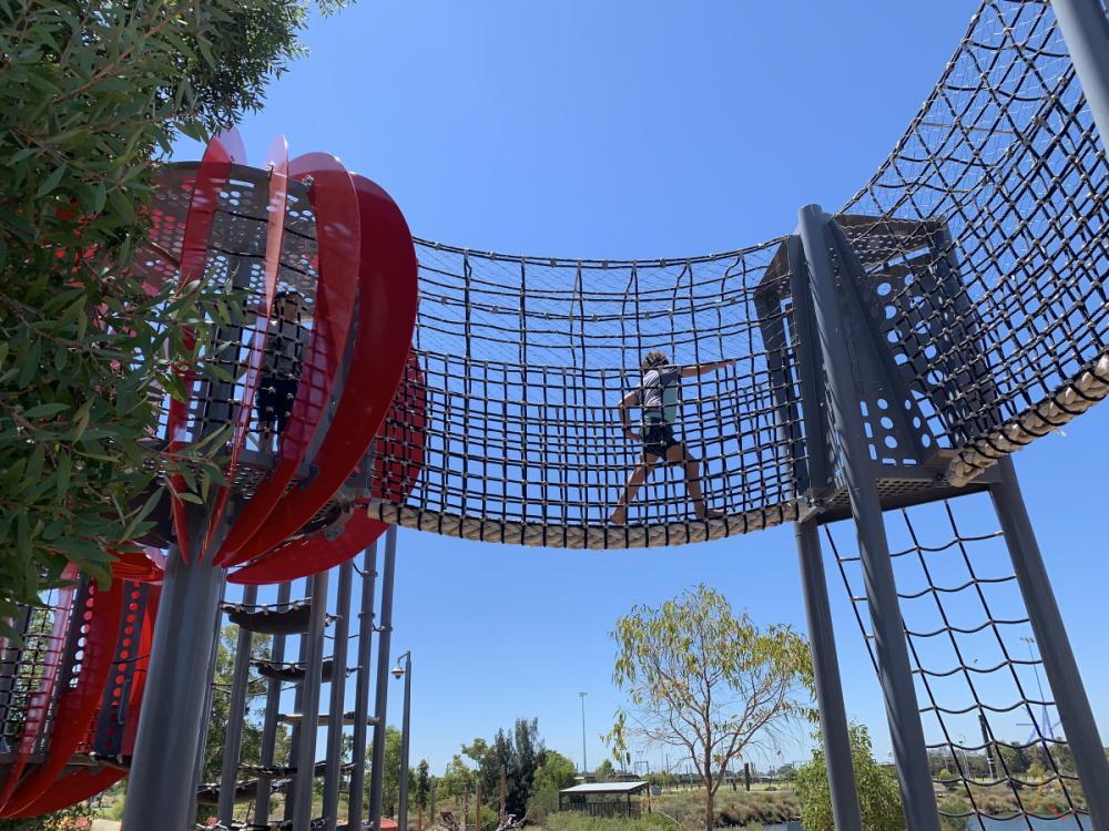 boys playing on playground at Perth Stadium, Western Australia