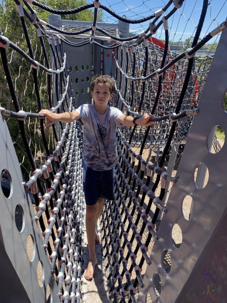 slightly miffed 14yo on playground at Perth Stadium, Western Australia
