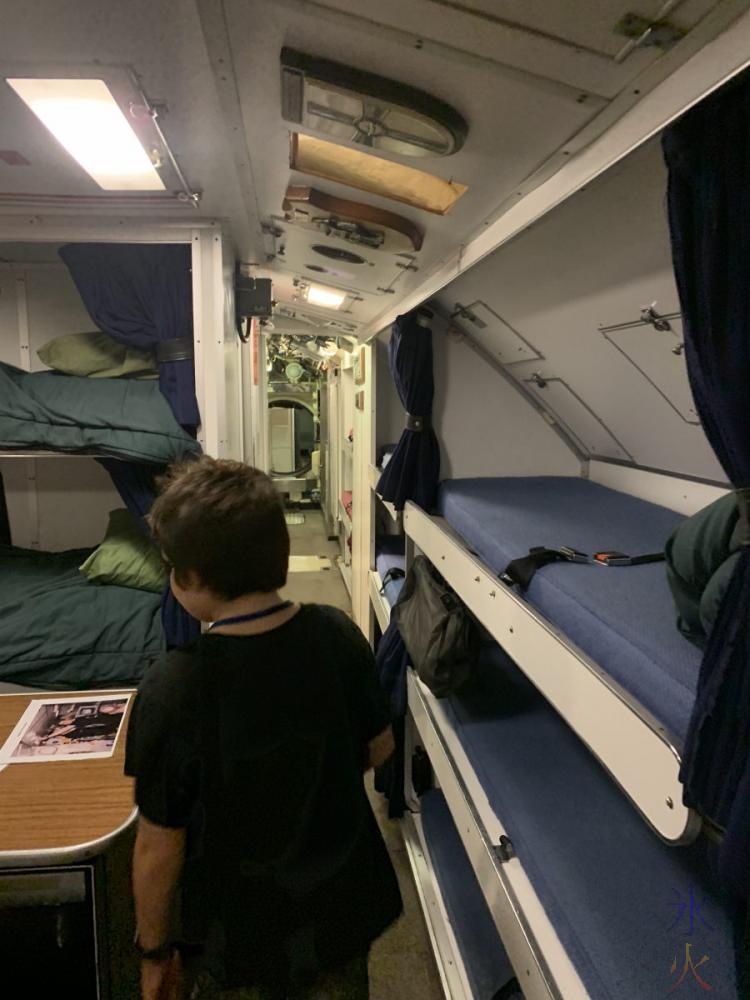 10yo looking at crew living/sleeping area on HMAS Ovens, Maritime Museum, Fremantle, Western Australia