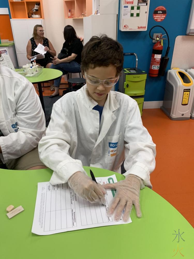 14yo doing geochemistry unit in Scitech, Perth, Western Australia