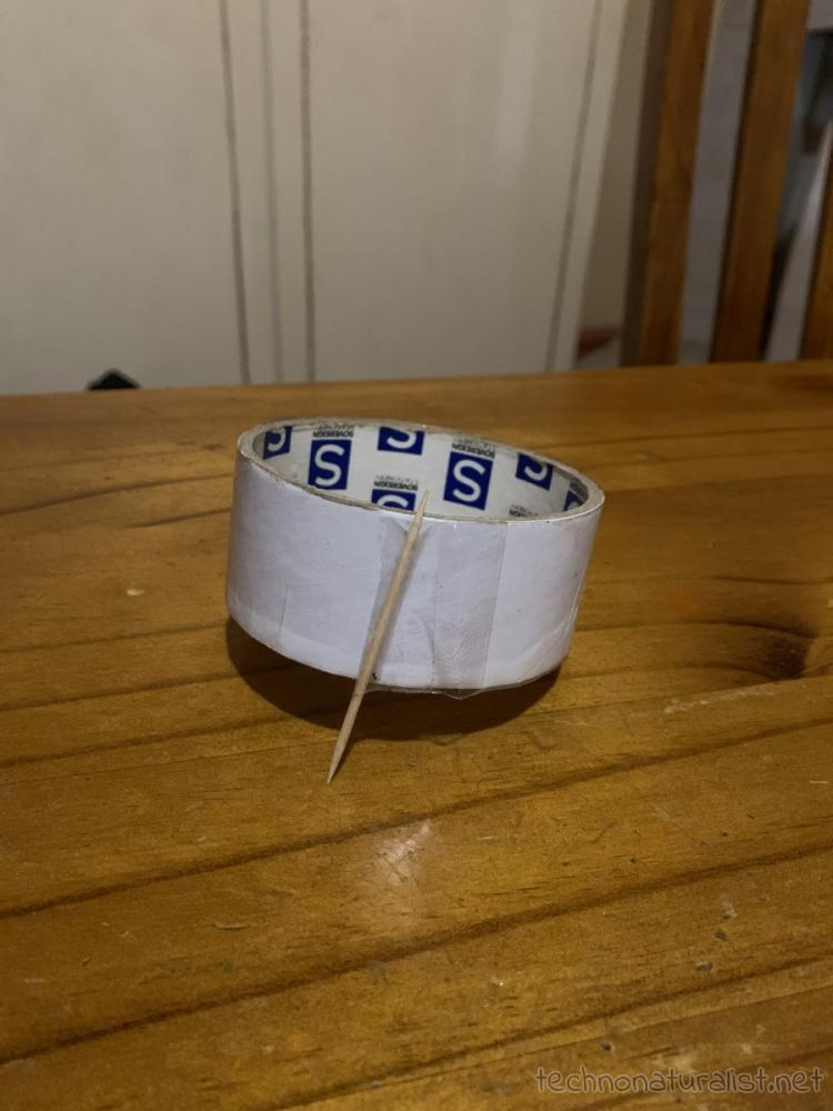 10yo's lifehack taping a toothpick to the end of the sticky tape so you don't lose it and it doesn't roll away